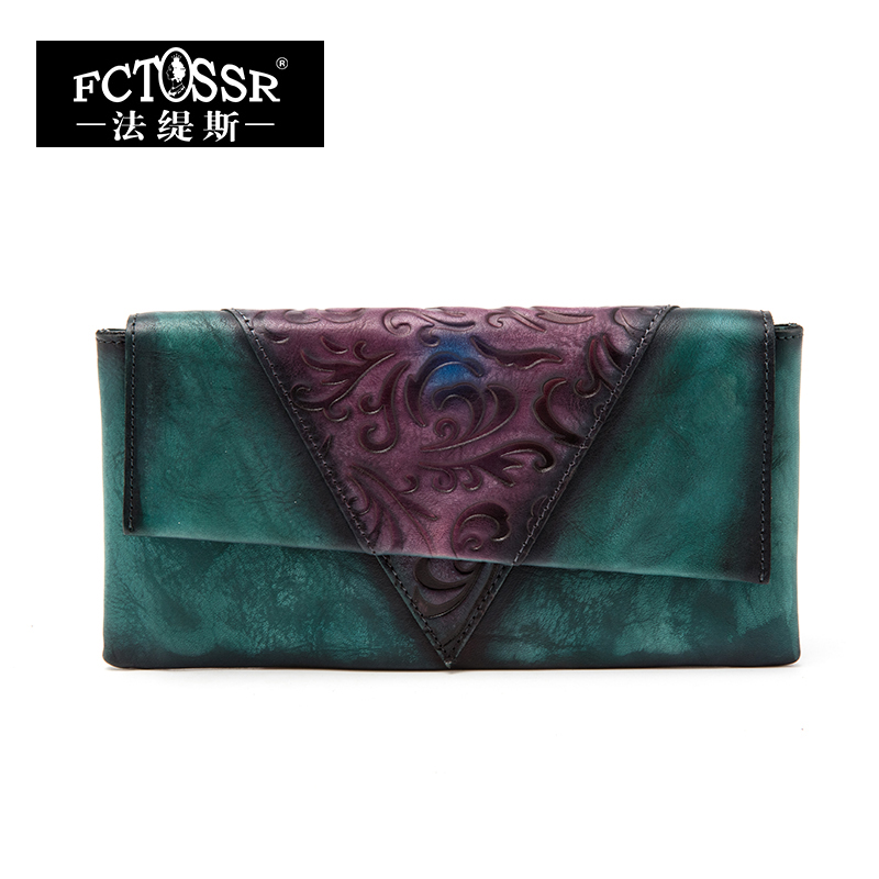 Embossed Genuine Leather Women Wallets 2019 Handmade Panelled Wallet Credit Card Holder Lady Purse Envelope Bifold