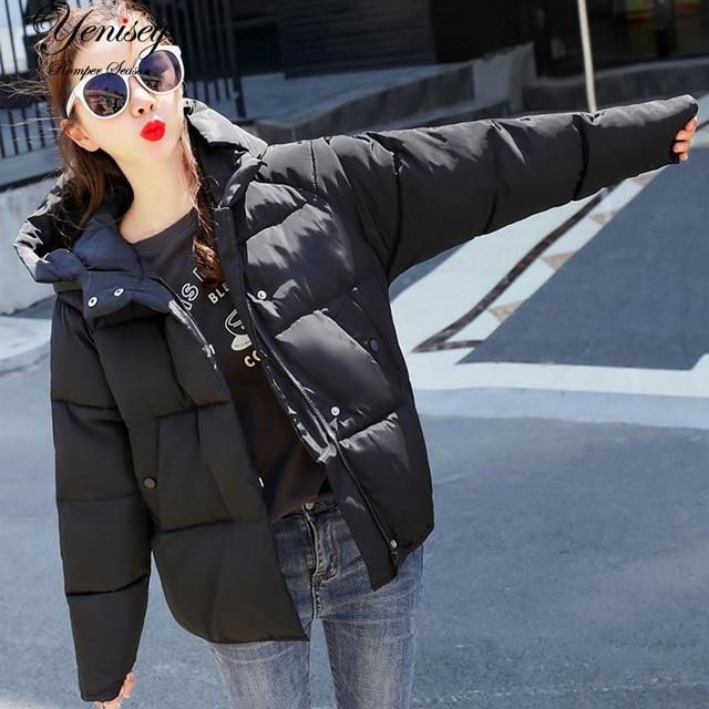 2019 Inverno Fino de Algodão Sólidos das Mulheres Novas Com Capuz Solto Algodão-acolchoado Jaqueta Mulheres Jaqueta de Inverno 902