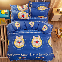 Lovely Cartoon Blue Rabbit 4Pcs Twin Full Queen King Size Bedding Linen Quilt Duvet Doona Cover