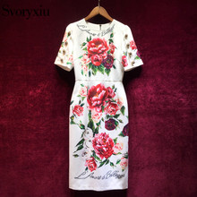 Svoryxiu 2018 Elegant Runway Summer Dress Women's luxurious Crystal Button Floral Print Vintage Female Party Slim Midi Dress