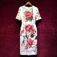 Svoryxiu 2018 Elegant Runway Summer Dress Women's luxurious Crystal Button Floral Print Vintage Female Party Slim Midi Dress