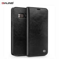 QIALINO Classic Bag For Samsung S 8 S8 Plus Genuine Cowhide Leather Cell Phone Case For