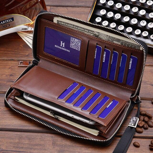 Long Men's Wallet With Wrist Strap