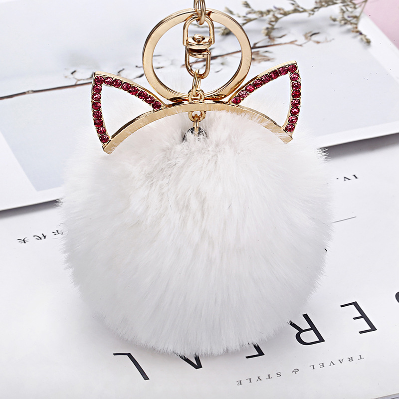 Lovely Bunny Bag Pendant Girl Pink Cat Ears Wallet Fur Ball Pompon Accessories Faux Rabbit Fox Hair Woman Purse Handbag