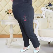 Plus size 5Xl 6xl 7XL 8XL big size Middle-aged and old plus flocking panty elastic waist qiu dong and sweat pants PJMJR099
