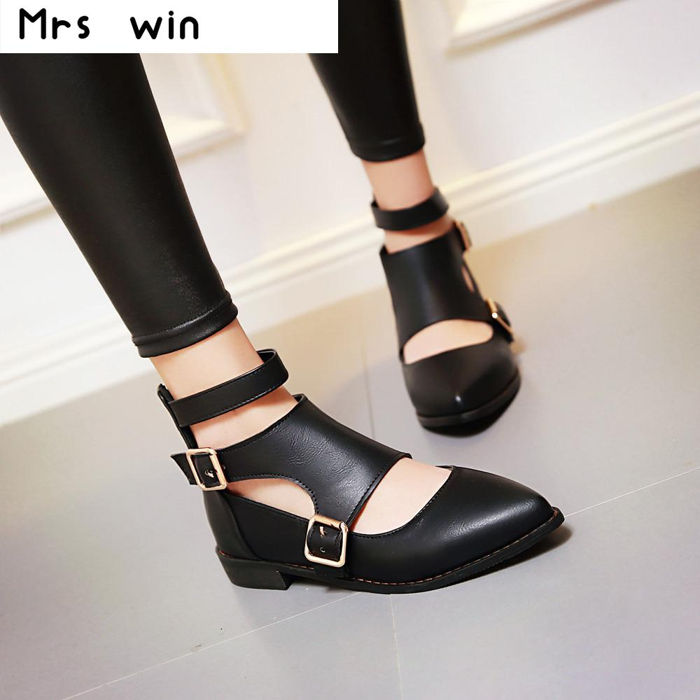 New Fashion ankle strap pointed toe women flats buckle woman flat shoes cut-outs flats for ladies large size 34-43 new 2017 spring summer women shoes pointed toe high quality brand fashion womens flats ladies plus size 41 sweet flock t179