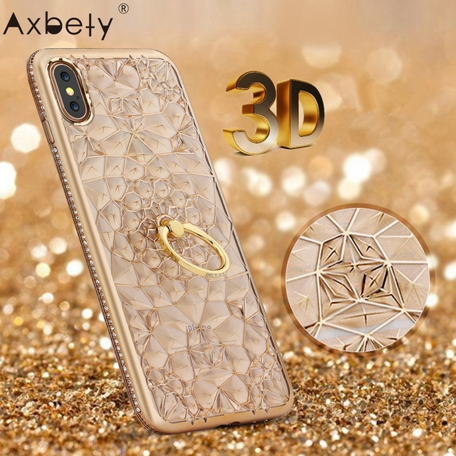 purchase cheap c6fca f66f3 US $4.61  3D Gold Plate Glitter Case For iPhone X Case Luxury Soft Silicone  Gel Diamond Ring Back Cover For iPhone X Stand Phone Cases-in Rhinestone ...