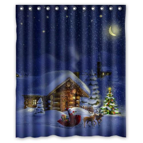 Print Winter Holidays Christmas Custom Unique Fabric Curtain