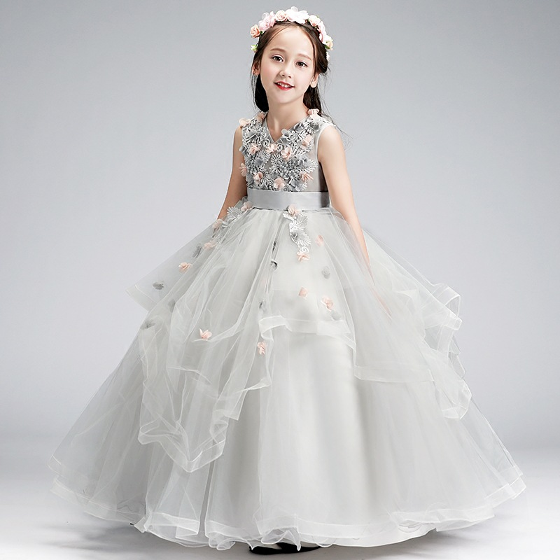 Lovely Gray   Flower     Girl     Dresses   2019 O-Neck Ball Gown Appliques Long Little Pageant Gowns   Girls   First Communion Gowns Cheap