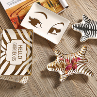 Gold-plated Tiger Skin Pattern Ceramic Storage Plate Snack Plate Zebra Dessert Jewelry Dish Jewelry Make Up Storage Desk