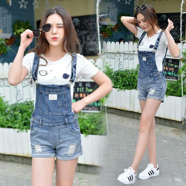 Slim Strap Ripped Overall