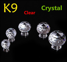 40mm Clear Crystal Kitchen Cabinet knobs Crystal Drawer Knobs silver Zinc Alloy Dresser Wardrobe Handles Pulls Knobs