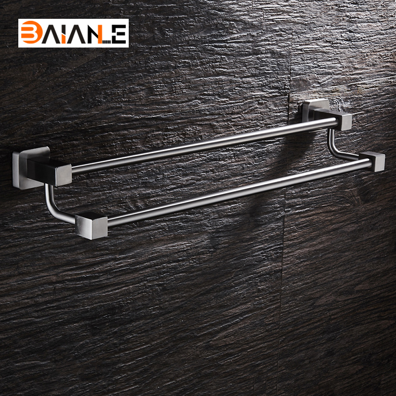 Wall-Mounted Towel Bar Stainless Steel Towel Rack Bathroom Towel Holders Double Rails Bath Storage Shelf Bathroom Accessories luxury chrome bathroom towel shelf bath towel holder double rails brass towel racks copper finish towel rack bar wall mounted