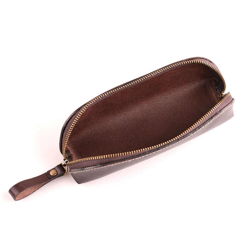 AETOO lapisan pertama tas pensil retro tas penyimpanan tas kosmetik kulit samak nabati manual jahit benang ritsleting
