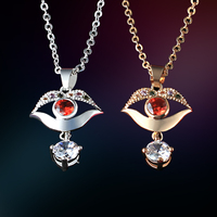 Egyptian Zircon Glass Gold Silver Plated Bead Ruby Zoisite Pendant Jewelry Turkish Evil Eye Necklace Chain