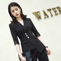 Ladies Black Half Sleeve Blazers Formal Women Business Jackets Coat Uniform Styles Office Work Wear Tops Outwear Clothes