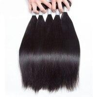 Guanyuhair бразильский Прямо человеческих волос Ткань 3 Связки с 4*4 Бесплатная закрытия шнурка не Волосы remy Природный # 1B Цвет 50 г/шт.