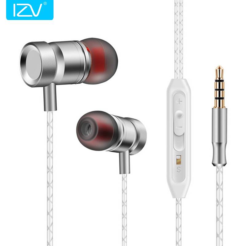 IZV GJ01 In-Ear 3.5mm Super Bass Microphone Earphones Earplug Stereo Metal HIFI In Ear Earbuds for iPhone Mobile Phone original urbanfun earphone 3 5mm in ear earbuds hybrid drive earphones with microphone hifi auriculares with monitor earplug