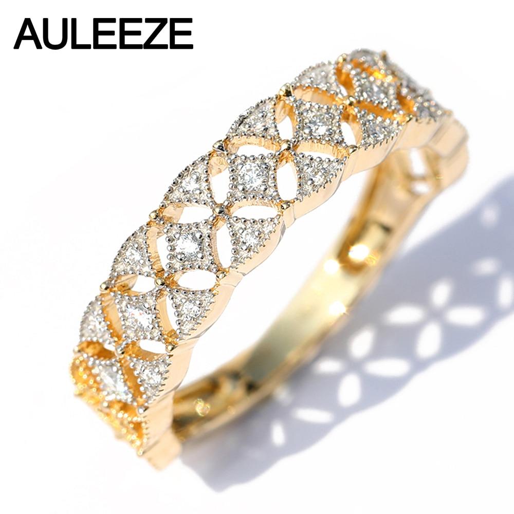 AULEEZE винтажное продано 18 K из желтого золота с бриллиантом кольцо квадратное кружевное элегантное женское кольцо