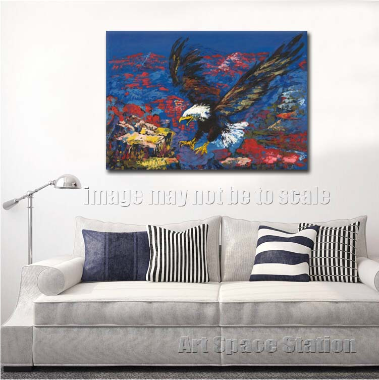 Leroy Neiman American Bald Eagle Abstract Animals Oil Painting Reproduction 32x24 Canvas Wall Art for Home Decoration No Frame-in Painting & ...