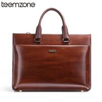 Teemzone 15inch Top Genuine Leather Men's Briefcase Laptop File Attache Case Lawyer Bag Business Men Handbag With Strap T0650