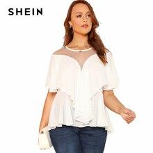SHEIN Mesh Insert Ruffle Trim Top 2018 Summer Round Neck Ruffle Sleeve Blouse Women Plus Size Asymmetrical Vacation Beach Blouse