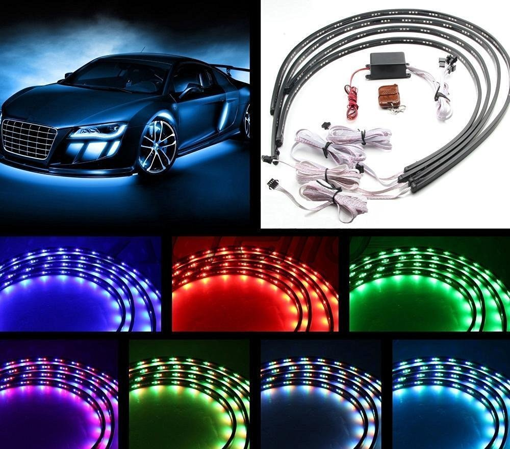 Car color kit - 7 Colors Led Strip Under Car Tube Underglow Underbody System Neon Lights Kit 36 X2 48 X2