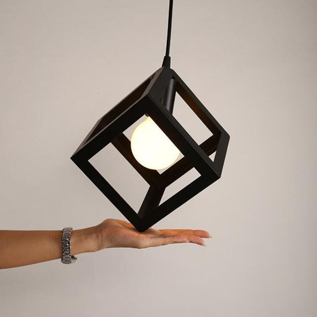 Free shipping New Nordic creative American style square Pendant Lamp Simple cube geometric iron Pendant light  E27 AC110-240V