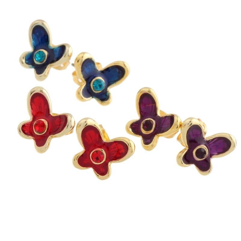 New Gold earrings for woman pendientes oso oorbellen boucle d oreille butterfly earing women bijoux femme stud earrings 2016