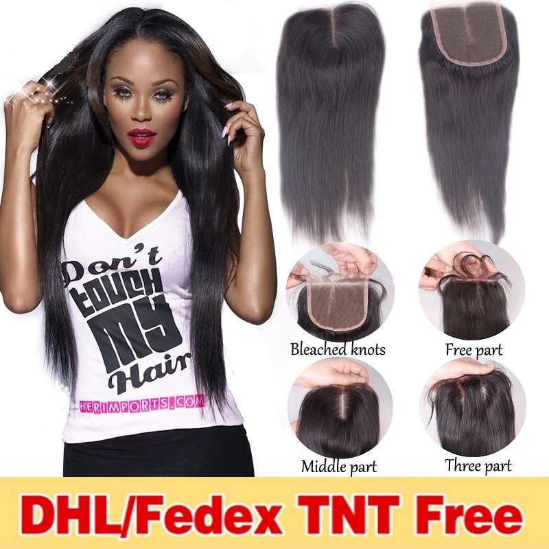 Brazilian Straight Lace Closure Bleached Knots Glueless Brazillian Human Hair Lace Closure With Baby Hair 3 Part Lace Closures
