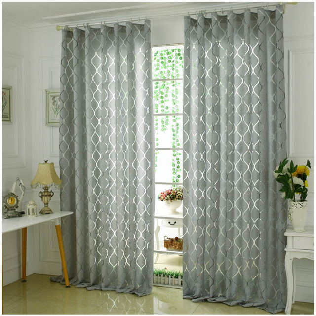 (2 Color) Modern Decorative Curtains Cloth Jacquard Gray And Yellow Window  Curtain For Bedroom