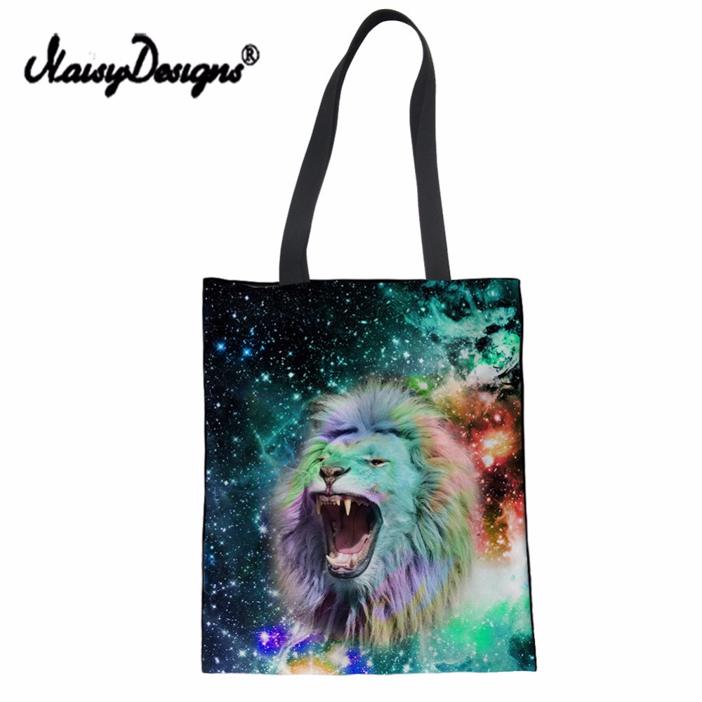 NoisyDesigns Canvas Bag Large Women Eco-friendly Cotton Shopping Bags Fodable Revsable Grocery Bags Tote Bags Blank Girl Handbag
