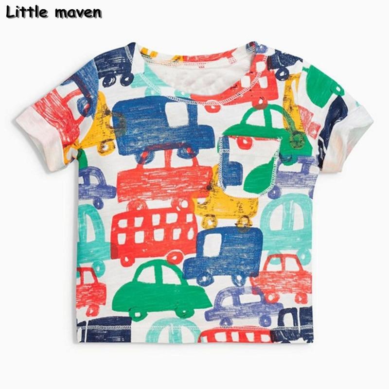 Little maven brand children clothing 2017 new summer baby boy clothes short sleeve t shirt Cotton car print tee tops 50704