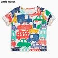 Little maven бренд детской одежды 2017 новый летний мальчик одежда с коротким рукавом футболка Хлопок автомобиль печати tee топы 50704