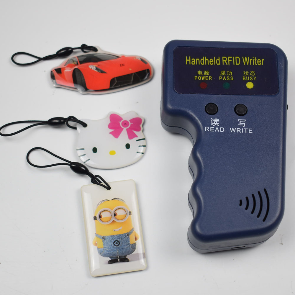 125Khz Handheld RFID Reader Writer ID Card Keyfob Duplicator Copier + 3pcs Writable T5577 Epoxy Keys id card 125khz rfid reader
