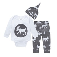 OUTAD 3pcs Newborn Baby Suits with Deer Pattern Romper Blouse Top Long Pants Hat Soft Children Clothing Set for Boys Girls New