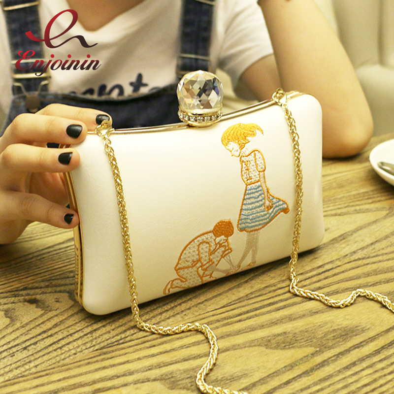 Fashion embroidery cartoon pattern diamond pu ladies party clutch bag evening bag chain purse women's handbag shoulder bag flap luxury fashion diamond beading sequined party banquet evening bag clutch handbag chain shoulder bag ladies purse messenger bag