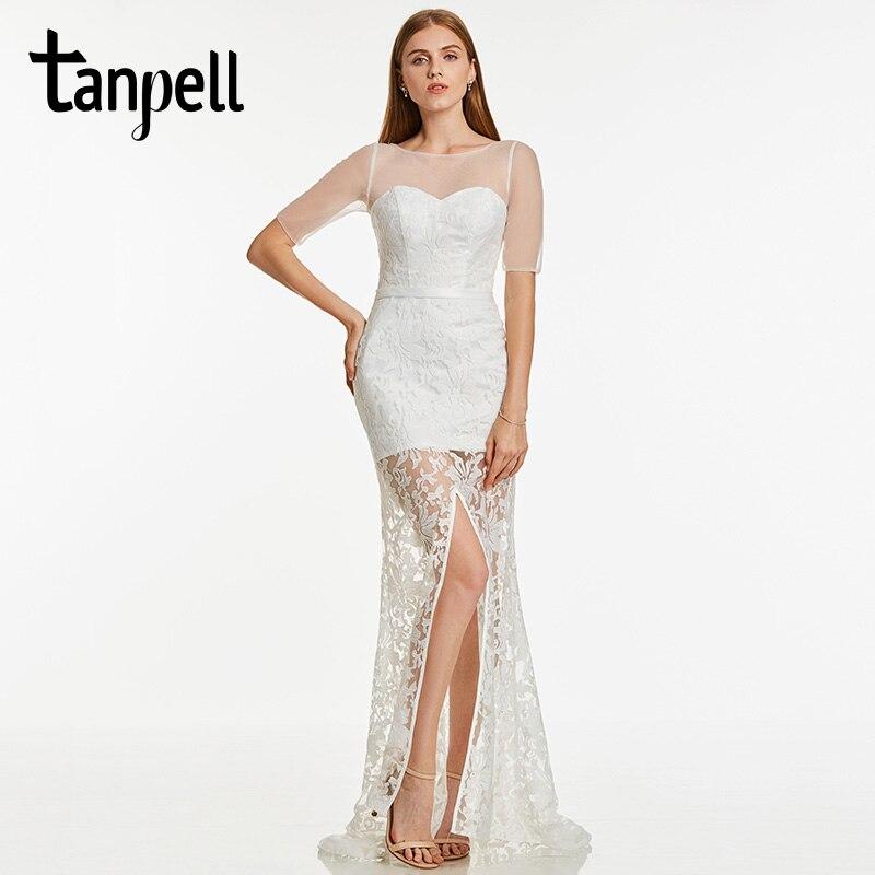 Tanpell Split Abend langes Abendkleid Elfenbein Spitze kurze Ärmel bodenlangen Kleid Frauen Prom Sweep Zug Abendkleider