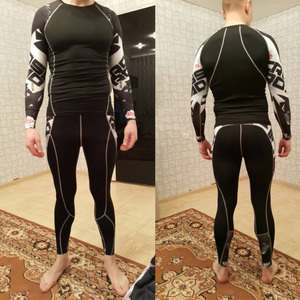 Mma rashgard طويلة الأكمام الحرارية تريكو مجموعة الجوارب الرجال ضغط مرونة الجافة تنفس تي شيرت التكتيكية ملابس اخلية حرارية