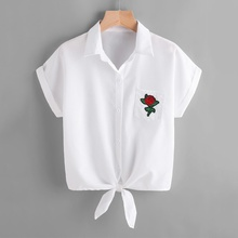 купить New Women Blouse Ladies Rose Flower Print White Blouses Short Sleeve Button Shirt дешево