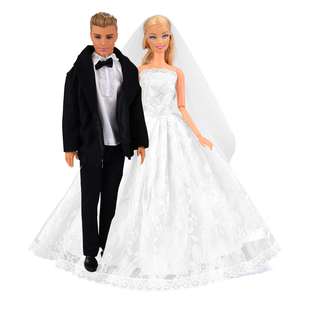 Fashion Toys Doll Accessoeies Princess Evening Party Long Tail Dress Outfit Clothes Items For Barbie Ken Dolls DIY Birthday Gift