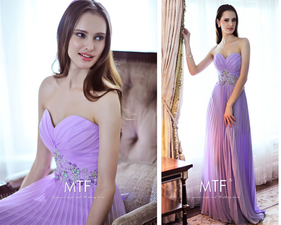summer custom-made New fashion sweetheart crystal lavender long prom gown 2018 new hot sexy free shipping   bridesmaid     dresses
