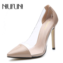 Pumps Women Shoes Transparent PVC Slip-On Shallow Wedding Party Thin Heels Pointed Toe Woman High Heels Pump New Autumn Shoes cheap NIUFUNI Super High (8cm-up) Basic Fits true to size take your normal size Rubber Platform Spring Autumn jm306-5 Fashion