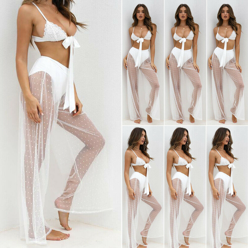2019 Brand New Summer Ladies Women Sexy High Waist See Through Lace Trousers Long Pant Loose Wide Leg Pants Beachwear