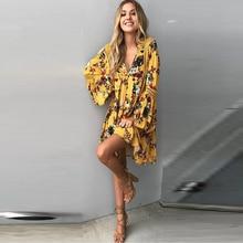 Платья 2017 Мода Пляж Стиль Свободные Цветочный Печати Наручные Flare Рукавом Выдалбливают Сексуальное Миниое Платье Rmpire Женщины Платье