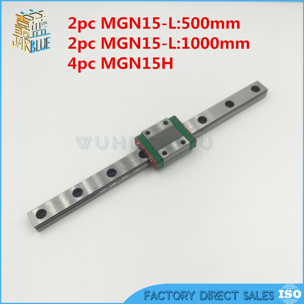 Free shipping 2pc15mm Linear Guide MGN15 500mm + 2pc MGN15 1000mm  linear rail way +4pc MGN15H Long linear carriage for CNC fotomate lp 02 200mm movable 2 way macro focusing rail slider black