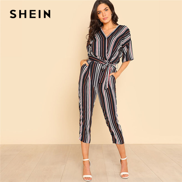 50e22f54e966 SHEIN Self Belted Striped Wrap OL Style Jumpsuit Women V neck Half Sleeve  Casual Jumpsuit 2018