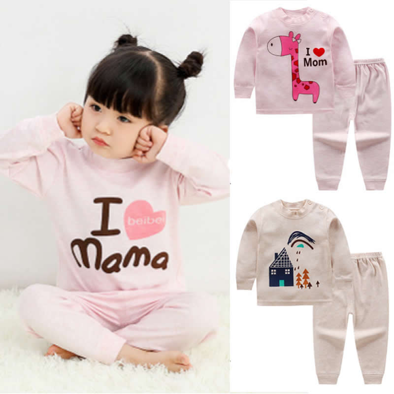 Frühling Kinder Kleidung Kinder Kleidung Jungen Pyjamas Giraffe Styling Nachtwäsche Druck Pyjamas Mädchen Nachtwäsche Baby Pyjama Unterwäsche Sparen Sie 50-70%