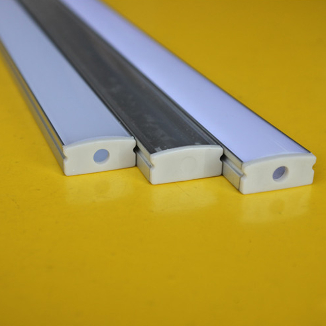 QLTEG 50cm Embed Led Aluminum Profile Bar Light Housing Milky Clear Covers Clip Channel for 12mm PCB Strip Recess Extrusion