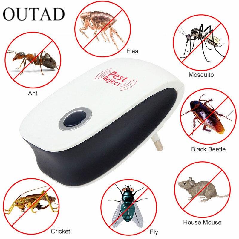 ЕС США Plug Электронный Cat ультразвуковой Anti Mosquito насекомыми вредителями controler Мышь Таракан Отпугиватель вредителей расширенная версия